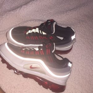 red , gray and black air max's